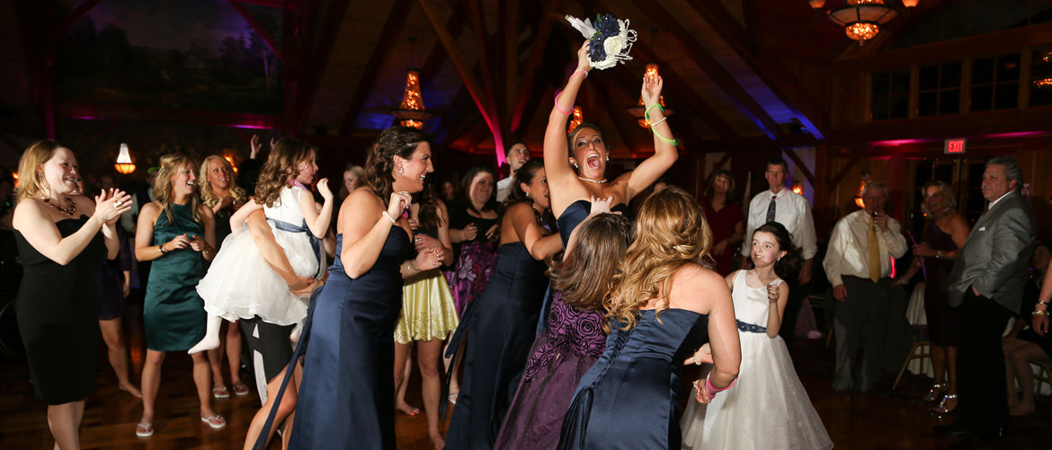 Catching the bouquet at a TCC Wedding