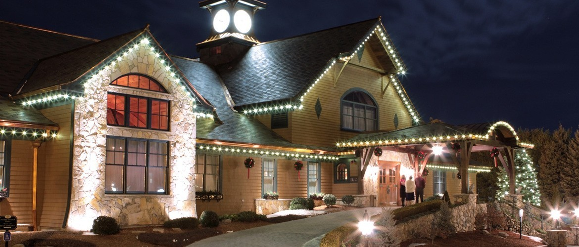 Front View of Tewksbury Country Club with Holiday Decorations