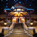 Romantic winter wedding photo at Tewksbury Country Club in the snow