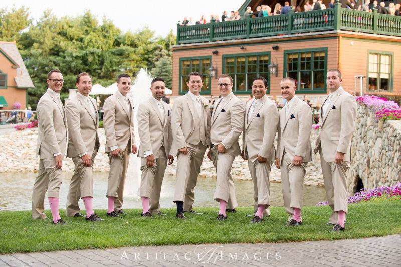 Pink Socks on the Groomsmen, a wedding at Tewksbury Country Club