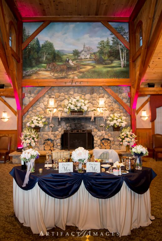 Ballroom and Stone Fireplace at Tewksbury Country Club