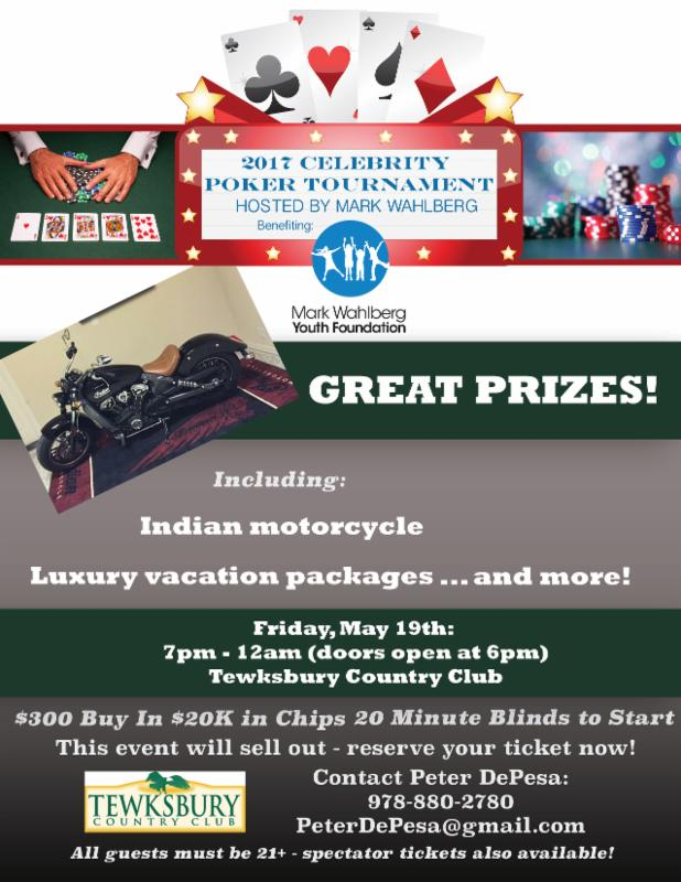 2017 Celebrity Poker Tournament at Tewksbury Country Club on May 19, 2017