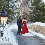 Bride and Groom on the Stone Bridge at Tewksbury Country Club