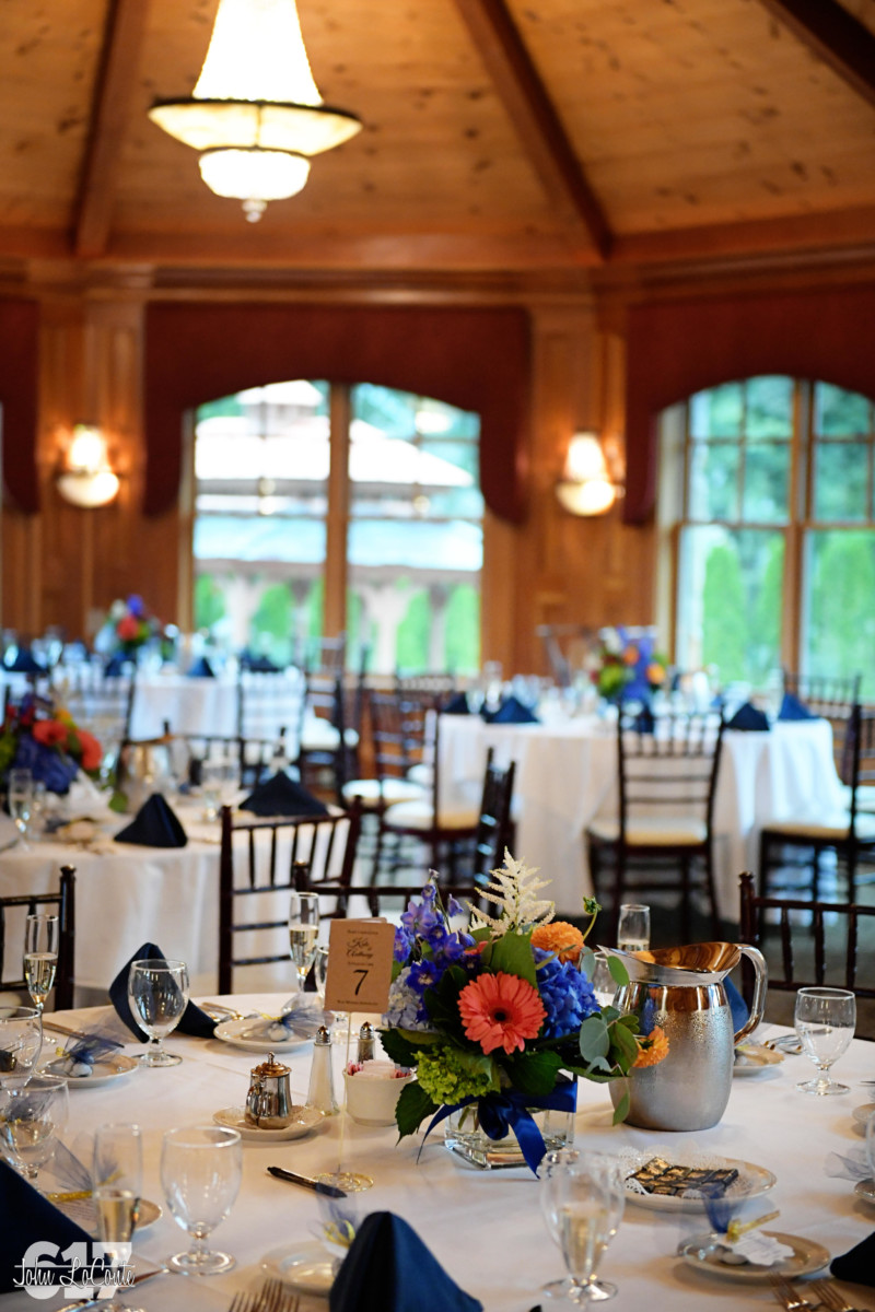 Tables Set for a Wedding at Tewksbury Country Club